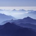 Uitzicht vanaf de top van de Mont Blanc, Frankrijk/Italië