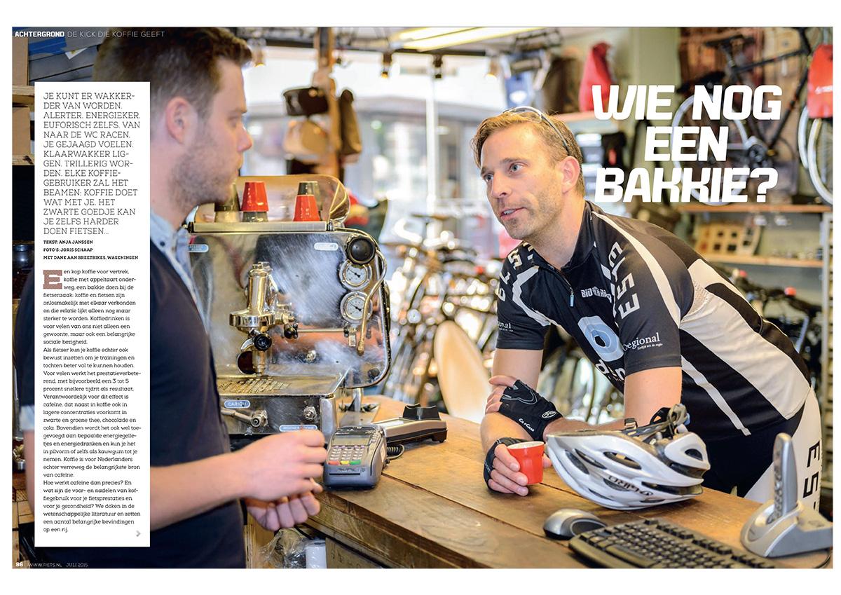 Artikel over koffie en fietsen in Fiets magazine (editie juli 2015). Tekst: Anja Janssen | Model: Tim Jacobs | Fotografie: Joris Schaap