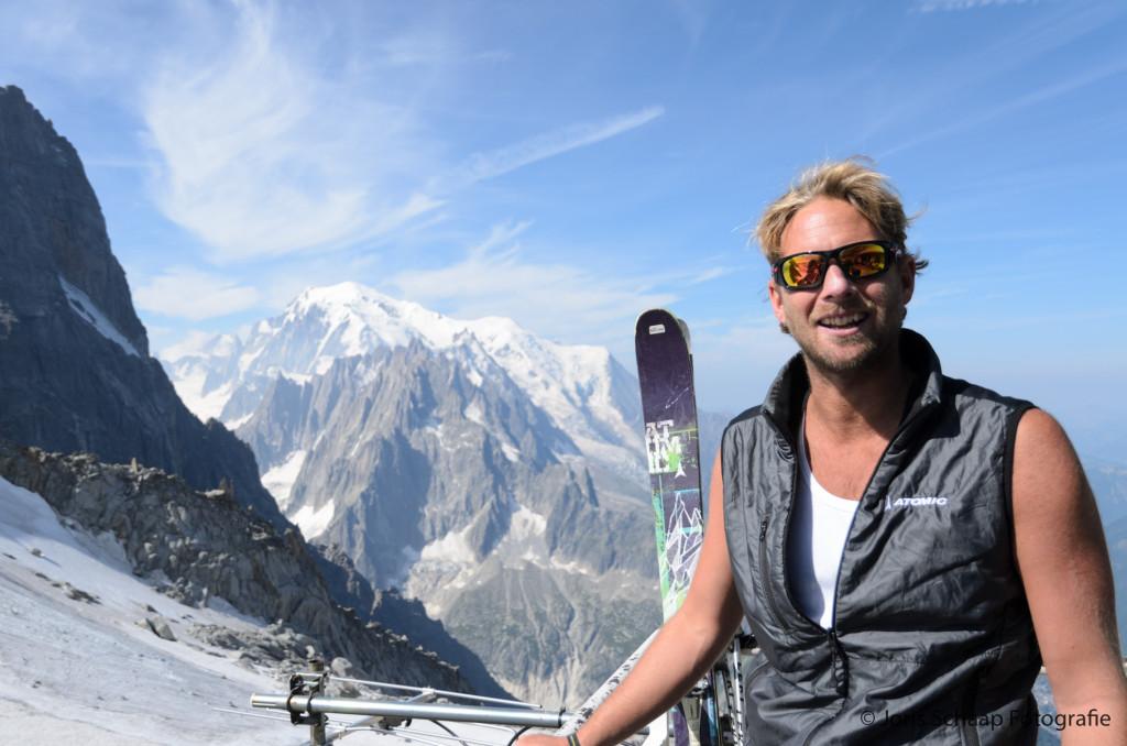 Tropische temperaturen bij Grand Montets, de Mont Blanc op de achtergrond