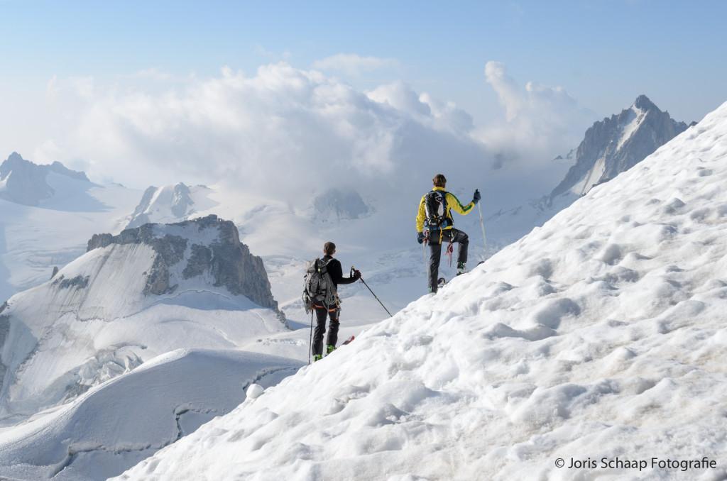 Skiën aan de voet van de Mont Blanc
