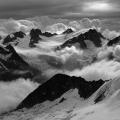 Een front met slecht weer trekt het Berner Oberland binnen, Zwitserland