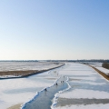 Schaatsers op de Elfstedenroute bij het Johan Frisokanaal richting Stavoren