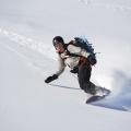 Snowboarden in de verse poedersneeuw, Les Deux Alps, Frankrijk
