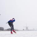 Schaatsen langs de molens van Kinderdijk, Zuid-Holland