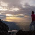 Zonsopkomst op de hoogste berg van Bali, de vulkaan Gunung Agung